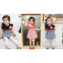 Korean B2W2 Checked Bubble Dress - RED **Free Pearl Necklace** (3Y, 4Y, 5Y, 6Y, 7Y)