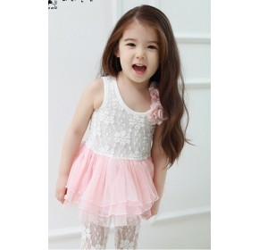 Korean b2w2 Girls Lace Tutu Dress w/White Legging Set - WHITE (4Y, 6Y)