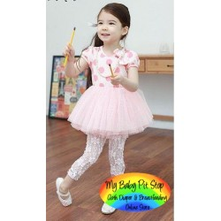 Korean b2w2 Girls Polka Dots Tutu Dress w/Detachable Pearl Necklace - PINK (4Y, 6Y)