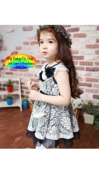 Korean b2w2 Girls White Lace On Navy Dress (3Y, 5Y, 6Y)