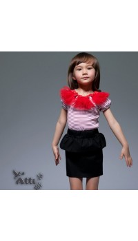 Korean b2w2 Girls Peplum Skirt - Red /White Stripe Ruffle Top w/Red Peplum (3Y, 4Y, 5Y, 6Y)