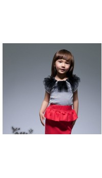 Korean b2w2 Girls Peplum - Black/White Stripe Ruffle Top w/Red Pepum (3Y, 5Y, 6Y)