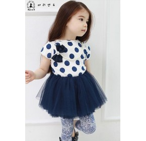 Korean b2w2 Girls Polka Dots Tutu Dress w/Detachable Pearl Necklace - BLUE (4Y, 5Y, 6Y)