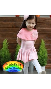 Korean Girls Drop-Waist Dress w/Short Poncho (3Y)