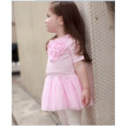 Korean Little Girls Pink Rosette Tutu Dress (3Y, 4Y)