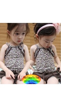 Korean Girls Leopard Print Top w/Brown Bloomers (6Y)