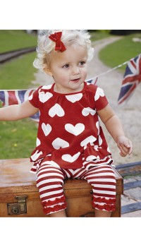 Little Girls Heart Shape on Red Top w/Legging Set (1Y, 2Y)