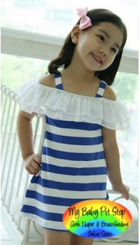 Korean Girls Breezy Flutter Sleeves Stripes Dress - BLUE (3Y, 4Y, 5Y, 6Y)