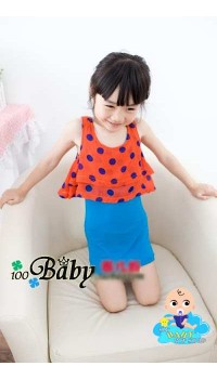 Korean Girls Overlay Blue Polka Dot Dress (1Y, 2Y)