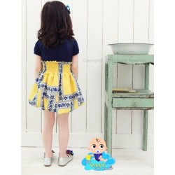 Korean Girl Flora Bubble Dress - Navy / Yellow (6Y)