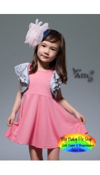 Korean Girls Grey Ruffle-Flutter Sleeves Peachy-Pink Dress (2Y, 3Y, 6Y)