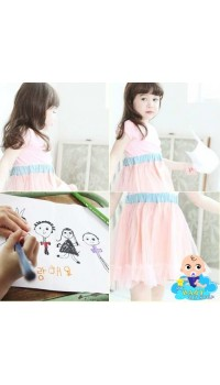 Korean Girls Pink Ideal Summer Pink dress - (2Y, 4Y, 5Y)
