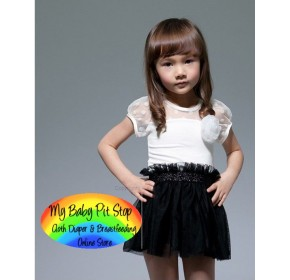 Korean Brand Girls White w/Black Mesh Tutu Skirt (2Y, 3Y, 4Y, 5Y, 6Y, 7Y)