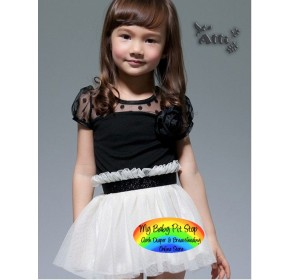 Korean Brand Girls Black w/White Mesh Tutu Skirt (3Y, 4Y, 6Y, 7Y)