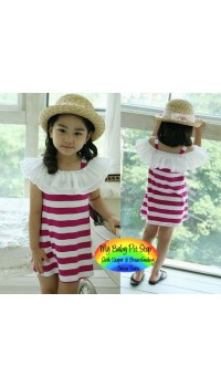 Korean Girls Breezy Flutter Sleeves Stripes Dress - PINK (3Y, 4Y, 5Y)
