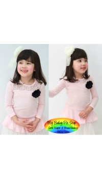 Korean Brand Girlz 3/4 Sleeves Pink Lace Top with Black Rosette (2Y, 3Y, 4Y, 5Y, 6Y)
