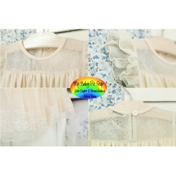 Korean A1Z9 Girls Flutter Sleeves Cream Lace/Mesh Dress (2Y, 3Y, 4Y, 5Y)