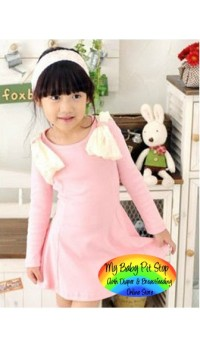 Korean B2W2 Girls Ivory Angel Wings Dress - Pink (4Y, 5Y, 7Y)