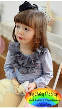 Korean Smart Kids Flower Petal Long Sleeves Navy Dress (2Y)