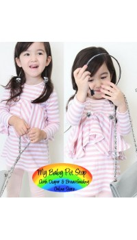 Korean B2W2 Pink/White Stripe Ruffle Front Dress (4Y, 5Y, 7Y)