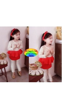 Korean Pink Ideal Roman Mosaic Leaves Red Dress with Necklace (2Y, 4Y, 5Y)