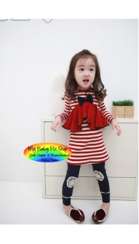 Korean Balwani Girls Red/White Striped Bow/Ruffle Front Dress - RED (5Y)
