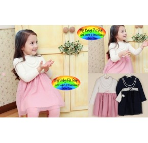 Korean B2W2 Girls Pink Turle neck dress with Necklace (2Y, 3Y, 5Y)