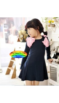 Korean B2W2 Girls Ivory Angel Wings Dress - Navy (6Y)