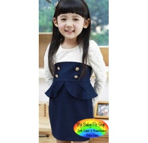 Korean B2W2 Girls Lacey Navy Peplum Dress (4Y, 7Y)