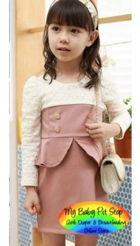 Korean B2W2 Girls Lacey Pink Peplum Dress (3Y, 5Y, 6Y)