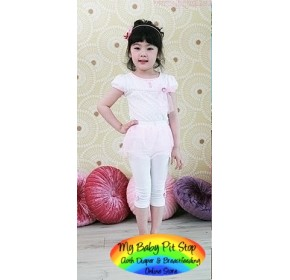 Korean Brand Girlz Pink Mesh Skirt with Attached Legging (2Y, 3Y, 4Y, 6Y)
