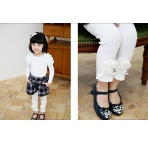 Korean Brand Girlz Legging with 3D Rosette - WHITE (4Y)