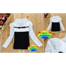 Korean Brand Girls Thin Ribbon Bow Front Hi-Neck Top (2Y, 3Y)