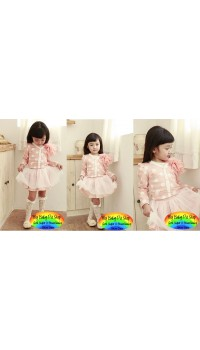 Korean L-Pudding Girls Baby Pink Cardigan + Skirt 2pc set (5Y, 6Y)