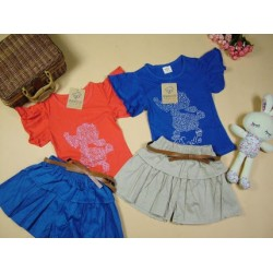 Korean Girl Fitting Sleeveless Top with Skirt Pant - Red (2Y, 3Y, 5Y, 6Y)