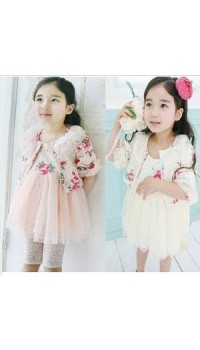 Korean A1Z9 Dress with Cardigan - PINK color  (5Y)