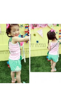 Korean B2W2 Green Sleeveless 2pc Set (5Y)