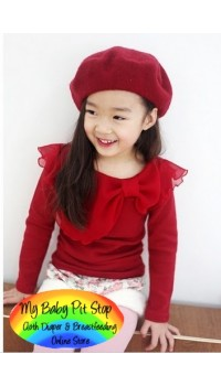 Korean B2W2 Girls Red long Sleeves Top (2Y)