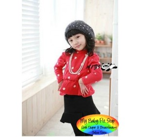 Korean A1Z9 Girls Long sleeves 2pc Set - Red Dots (2Y, 3Y)