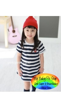 Korean Girls Mummy and Daughter Black & White Stripes Dress (Daughter) (2Y, 3Y, 5Y, 6Y, 7Y)