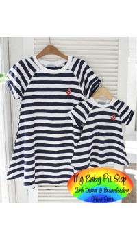 Korean Girls Mummy and Daughter Black & White Stripes Dress (Mummy) (Size M)