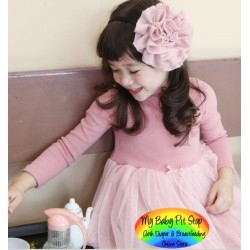 Korean Girls Turtle Neck Long Sleeves Dress (5Y)