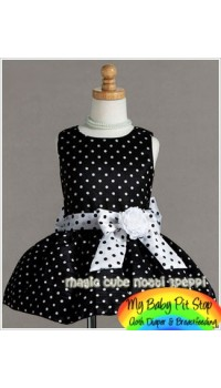 Magic Cube Notti Peppi Girls Polka Dot Black Party Dress (6Y)