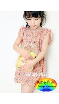 Magic Cube Floral Dress ~ Pink Retro (2Y, 4Y, 6Y)
