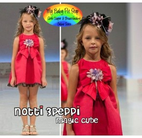 Magic Cube Notti Peppi Red Bow Dress with Rosetta (2Y, 3Y, 4Y, 5Y)