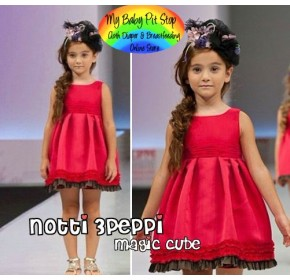 Magic Cube Notti Peppi Red Baby Doll Dress (1Y, 4Y, 5Y)