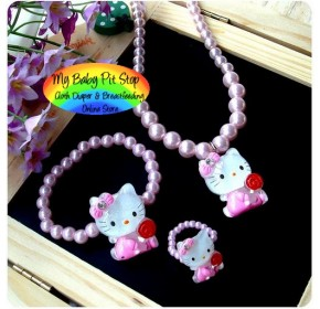 Korean Hello Kitty Pearl Accessories 3pc - Hello Kitty Red Lolly