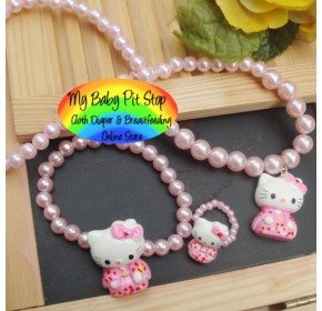 Korean Hello Kitty Pearl Accessories 3pc - Pink Kimono