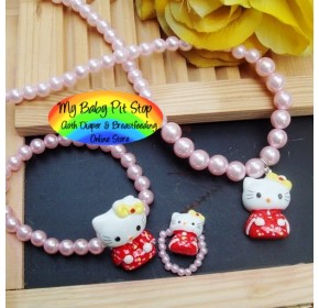 Korean Hello Kitty Pearl Accessories 3pc - Red Kimono