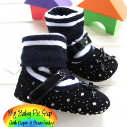 GUESS Girlz Sock Top Prewalker Shoes - Black Strip (6-12M)